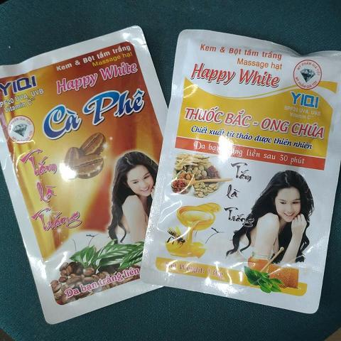 Kem và bột tắm trắng massage hạt Yiqi Happy White thuốc bắc, cà phê