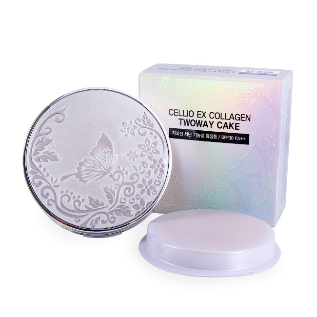 Phấn phủ Cellio Ex Collagen two way cake siêu mịn